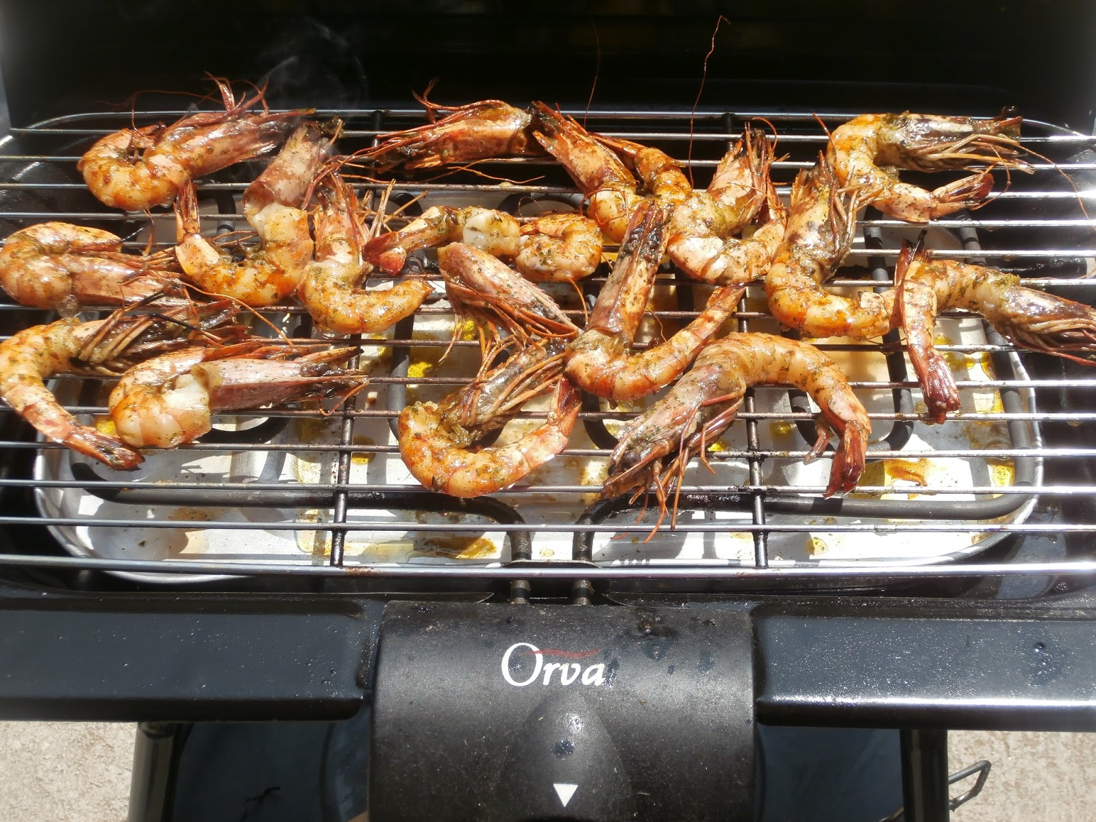 gambas au barbecue - barbecue electrique